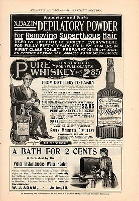 11 Early Whiskey Ads 1900-1901 Green Mountain, Zapp's, Fig Rye