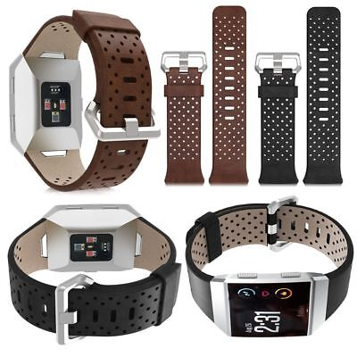 Perforated Genuine Leather Wrist Band Bracelet Watchband Strap For Fitbit Ionic