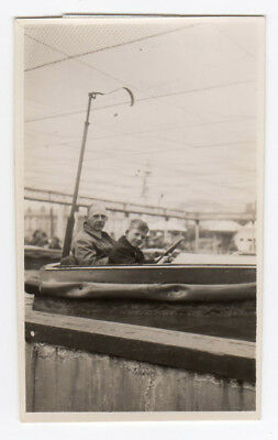 Social History Vintage Photo Father Boy Llandidno on a Boat on the Pier 1946