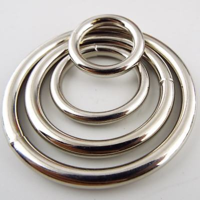 20 25 38 50mm Welded Solid Heavy Metal O Rings Silver Chrome Nickle BUY 2 4 8