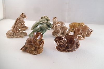 Vintage Lot of 10 Wade Whimsies Red Rose Tea Figurines Miniatures