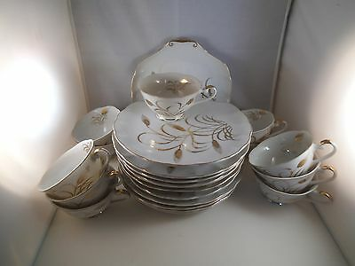 Vintage Lot of Lefton China Japan Golden Wheat 12 Snack Trays & 11 Cups A Set