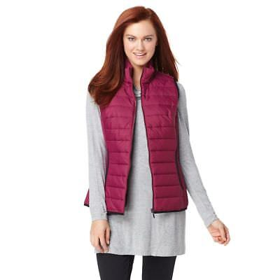 Serena Williams Stylish Water Resistant Quilted Vest Deep Magenta L NEW 366-204