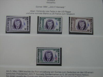 (BN23) GUINEA 1964 J.F Kennedy 5 Fr - 50 Fr superb MNH MAJOR VARIETY MISSING RED