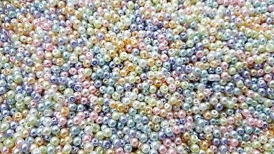 100 Pastel Pearl Glass Round Spacer Beads 4mm For Jewellery Making BUY 4 FOR 3
