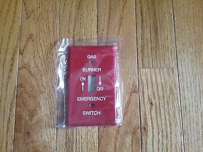 Gas Burner Switch Plate Cover Red Metal Emergency
