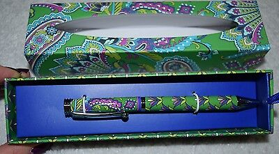 Vera Bradley Ball Point Pen New In Gift Box Green Paisley