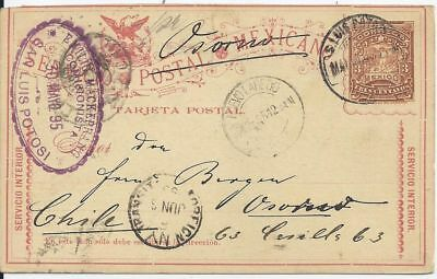 Mexico 1895, Ganzsache v. S. Luis Potosi via New York nach Chile.  #2251