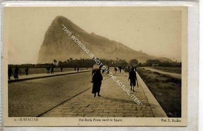 (Gb1190-477) Real Photo of The Rock from Road to Spain, Gibraltar c1920 VG-EX
