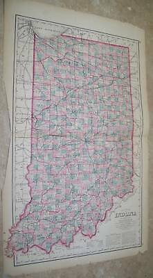 1882 Antique Atlas Map Indiana State Map In