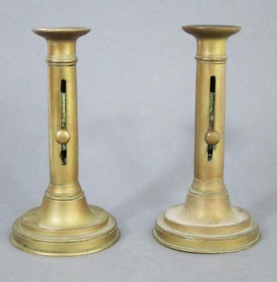 Superb Pair Of Georgian Antique Brass Ejector Candlesticks 1830