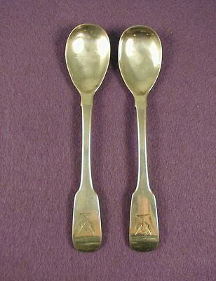 Irish Sterling Egg Spoons, 2, Amorial Crest, 1829-1830
