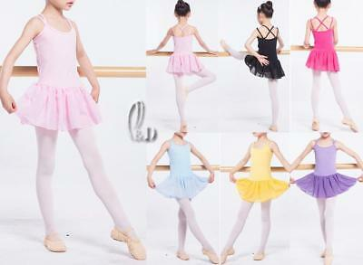 AU SELLER Girls Ladies Dance Ballet Skirt Dress Cotton Gymnastics Leotard da025