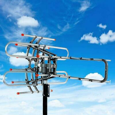 HDTV Outdoor Amplified Antenna Digital HD TV 150 Mile 360 Rotor UHF/VHF/FM