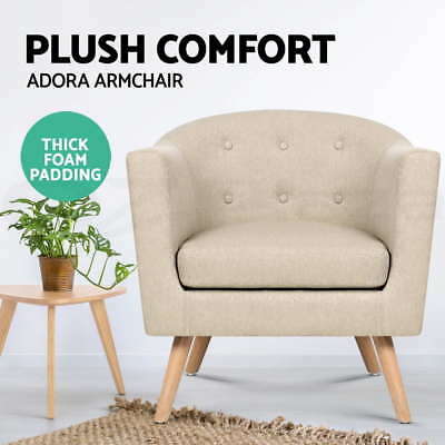 ADORA Armchair Tub Dining Chair Wooden Accent Sofa Lounge Padded Fabric Taupe