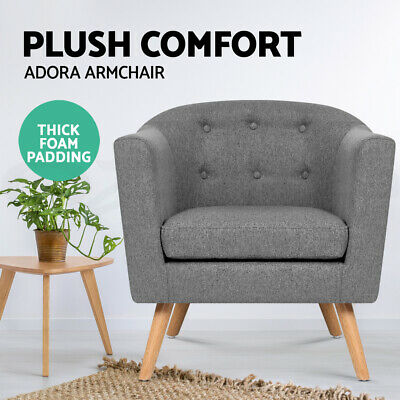 ADORA Armchair Tub Dining Chair Wooden Accent Sofa Lounge Padded Fabric Grey