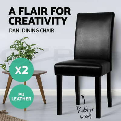 2x DANI Dining Chair PU Leather Padded High Back Wood Kitchen Cafe Black