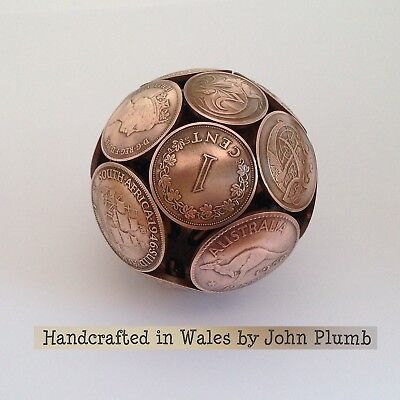 Bronze Coinball . Beautiful handcrafted sphere made from coins . Free UK Postage