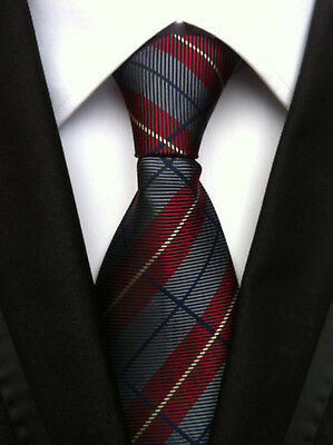 Classic Men's Wine Red Gray Stripe necktie Wedding party  JACQUARD WOVENTies