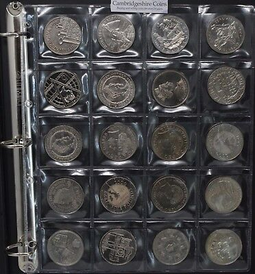 Clear Plastic Coin Wallets 20 Pocket Storage Album £5 Crown Dollar Size 50mm