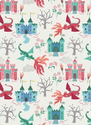 Fat Quarter - Dragons: Dragon Castle on Cream Cotton Fabric