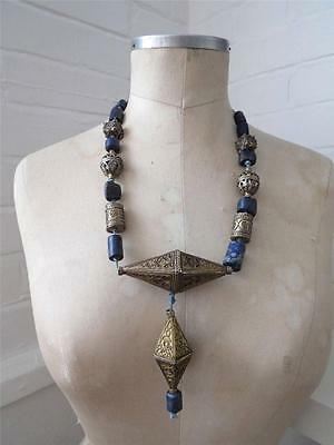 Antique African Tribal Solid Silver Filigree and Rustic Lapis Lazuli Necklace