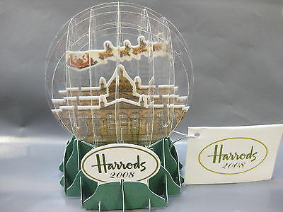 3 x HARRODS VINTAGE POP UP SNOW GLOBE 2008 CHRISTMAS FOLD FLAT COLLECTABLE NEW