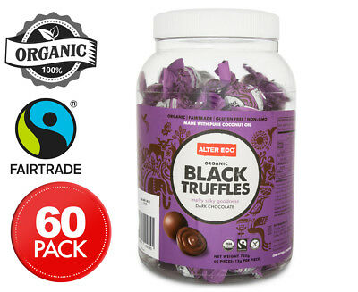 Alter Eco Organic Dark Chocolate Black Truffles Tub 60pk