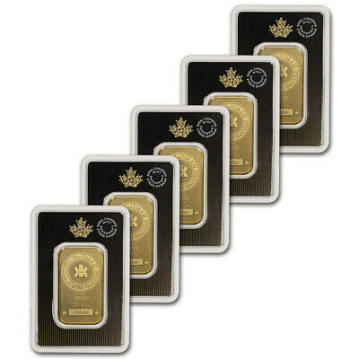 1 oz. Gold Bar - Royal Canadian Mint (RCM) - .9999 Fine in Assay - Five 5 Bars