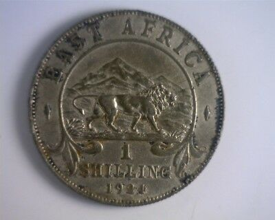 1924 British East Africa Silver Shilling - Majestic Lion!