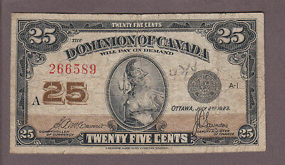 1923 25 Cents Shinplaster - McCavour Saunders - Dominion of Canada - B962