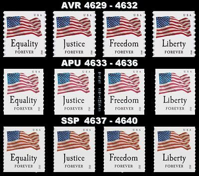 4629-32 4633-36 4637-40 Four Flags Forever Set 12 Coil Singles 2012 MNH -Buy Now