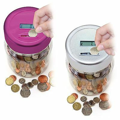 Electronic LCD Coin Money Counting Jar Box Saving Safe Digital Piggy Bank New