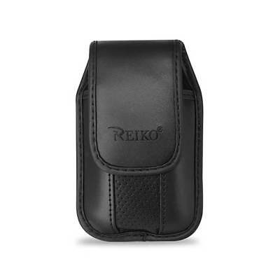 Black Leather Case Vertical with pinch clip fits alcatel Go Flip phone