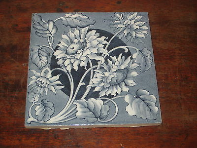English Late Victorian Tile Flowers Very Pretty
