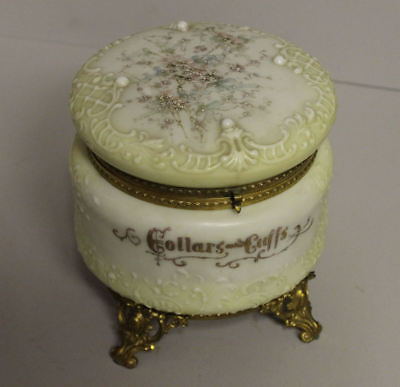 Antique Collars & Cuffs Wave Crest Hinged Box Signed C.F. Monroe