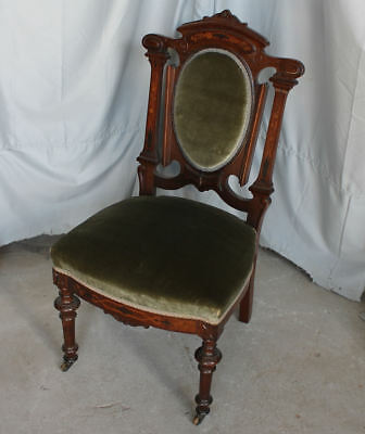 Antique Victorian Rosewood side Chair with inlay - with green Upholstery