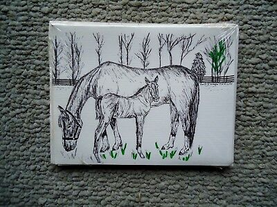Mare and Foal Horses 18 Blank Notecards with Linen Style Envelopes New