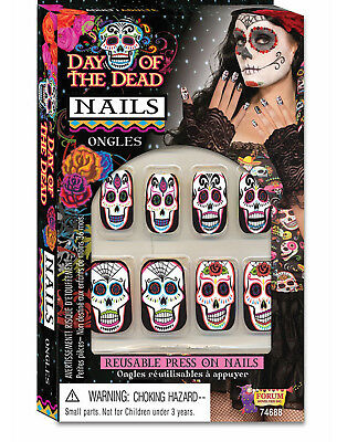 Day Of The Dead De Los Muertos Adult Nails Costume Accessory