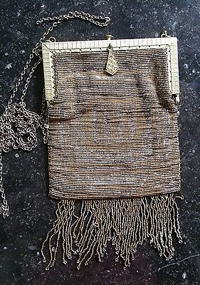 Antique Silver Micro Beaded Bag Handmade French Steel Gold & Silver