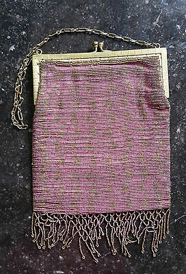 Antique PINK Micro Beaded Bag French Steel