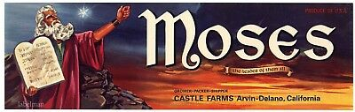 MOSES Brand, Arvin, Delano **AN ORIGINAL FRUIT CRATE LABEL**
