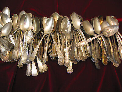 Antique Silverplate Flatware Craft Lot of 150 Victorian Teaspoon Singles