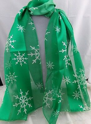 Christmas Scarf Silky Green White Snowflakes Fashion Accessory NEW