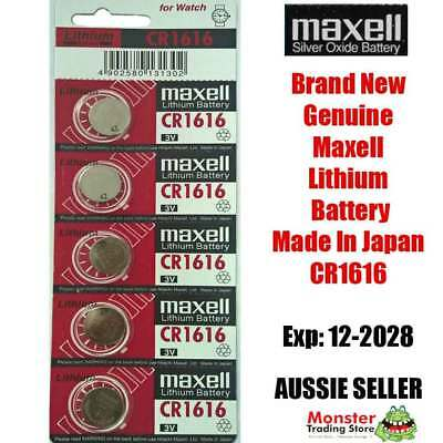 5 Pcs Cr1616 3V Lithium Button Coin Battery Made In Japan Best Before: 12/2028