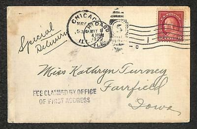Usa #512 Stamp Special Delivery Chicago Illinois To Iowa Cover 1922