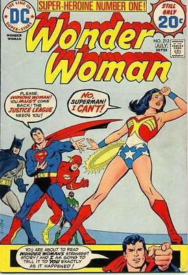 WONDER WOMAN #212 F, 12 TRIALS TO RE-JOIN JUSTICE LEAGUE begins, DC Comics 1974