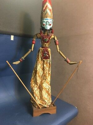 Chinese Folk culture Wood Carved Puppet Man Woman Ethnic Marionette Oriental VTG