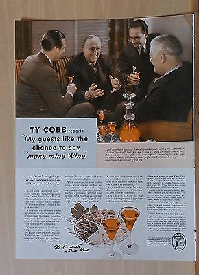 1940 magazine ad for California Wine - Ty Cobb enjoys wine with guests at home