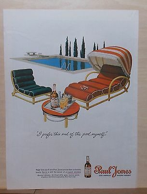 1945 magazine ad for Paul Jones Whiskey -Swanky pool, this end of pool preferred